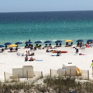 View of beach and crowd in July.