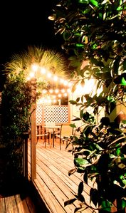 Back deck at night surrounded by Confederate Jasmine