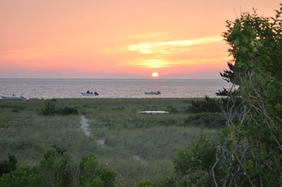 Sunset from the house - showing private path to beach