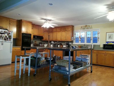 The very large fully equipped kitchen.
