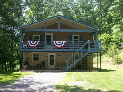Photo for Secluded  Pet-friendly Cabin At Smoke Hole Sleeps 10 With 5 Person Hottub.