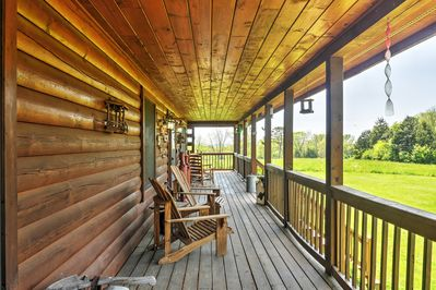 This cabin sits on 19 private acres, surrounded by beautiful woodland scenery.
