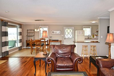 Open living, dining and kitchen for family get togethers