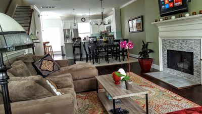 Living area is stylish and cozy