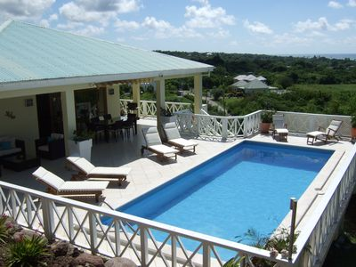 big pool deck, generous covered porches, large swimming pool