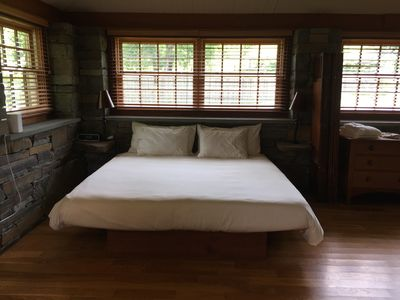 King size TempurPedic Bed with High Count Cotton Linens