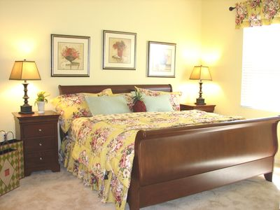 Master bedroom with king sized sleigh bed