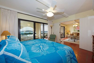 Master bedroom can open to living room & has a view of the Caribbean Sea.