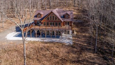 Photo for BEST CABIN in the Mountains: VIEWS, PRIVACY, 25 acres, CREEK, hot-tub, firepit