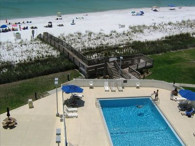 Beautiful view of the pool and gulf from 7th floor oversized balcony