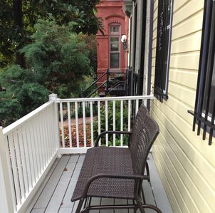 Porch glider. A great place to sip coffee in the mornings.