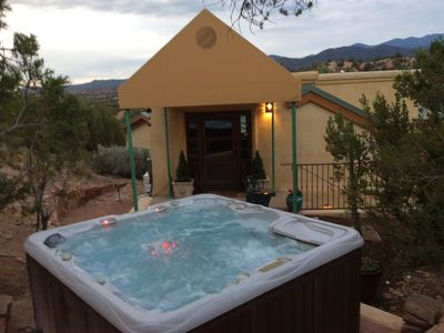 Photo for MONTHLY RENTAL.HILLTOP RETREAT IN TESUQUE.  VIEWS,  PRIVACY.  1 BR, 1 BA, HOT T