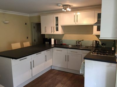 Fully stocked kitchen with full size freezer and washing machine/tumble dryer