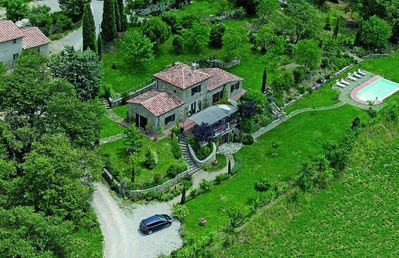 Aerial View of the Villa and Pool
