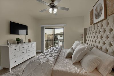 Master Bedroom with King bed and small Balcony