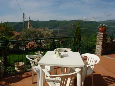 Photo for Quietly located apartment at Torria, an old olive-growing village in the mountains Sweeping panoramic views of the valley Beautiful garden
