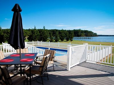 Photo for Yr Round Waterfront W/private Dock, Kayaks, Pool, Fire Pit,  Sleeps 24 Pp