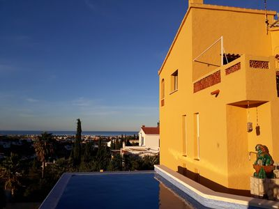 Photo for 1 to 2 family villa with stunning 180 ° sea view on BergMontgó, very quiet!