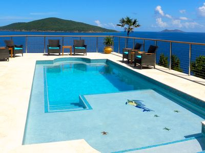 Pool overlooks the Atlantic Ocean. Built in seating for spectacular Island views