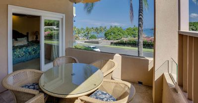 Lanai with table for five and ocean view