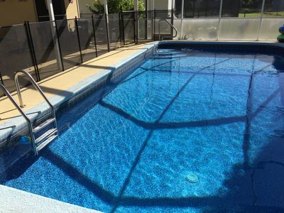 Large pool. Deep end 6ft, low end 3ft