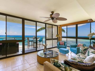 Photo for Booking Inter-Island Travelers! Kuhio Shores 319–Oceanfront, Sunset Views, A/C!