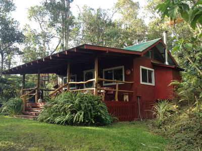 Photo for Kaloko mountain cabin above Kona with hot tub and fireplace - rustic adventure!