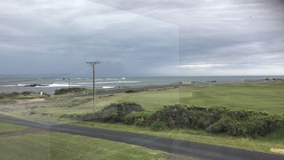 View from the front of the house - golf course and beach right there!