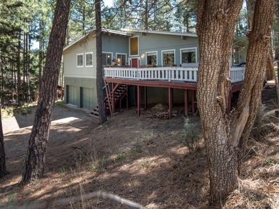 Photo for LARGE 3/2 CABIN IS THE TREES, HOT TUB & POOL TABLE, CENTRAL AIR
