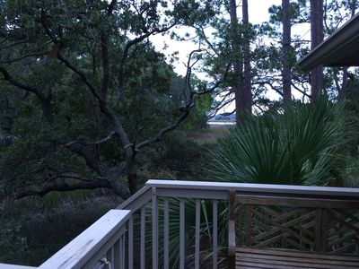 The deck facing the Kiawah River.  Glorious sunsets here.