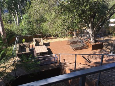 Photo for Topanga Tree House (3 bedroom, huge deck, comfy and bright)