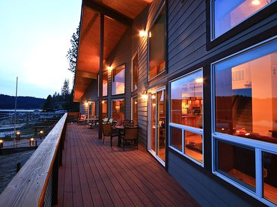 Photo for 7-bedrm Luxurious Lakefront Home with Private Boat Dock, 3 decks over Bass Lake.