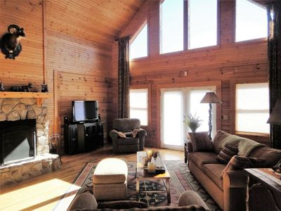 Photo for Appalachian View- 3 bedroom log cabin offering fabulous mountain views. Hot tub, WiFi, Pet friendly