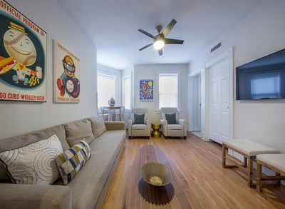 Spacious family room with new flat screen.