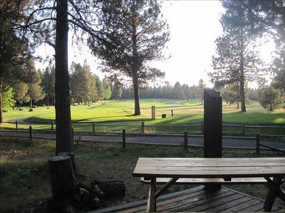 AHHH..relax and enjoy the scenery on back deck looking down Meadows fairway #15!
