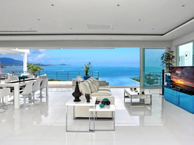Photo for Superb villa with stunning views over the Bay of Bang Rak and  beach 300m