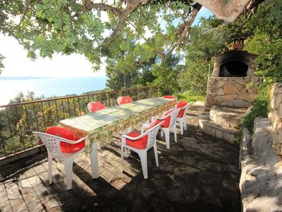 Photo for One bedroom apartment with terrace and sea view Zavala, Hvar (A-8912-b)