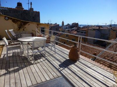 30-sq.m terrace with view over the roofs, sea view