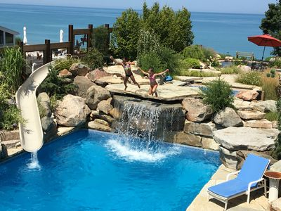 2 great lakefront pool houses with hot tub and private beach - sleeps 24!