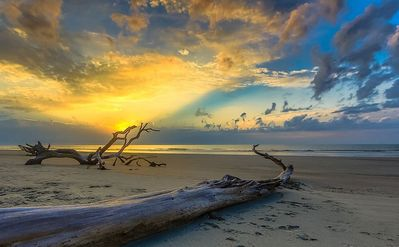 Sunrise on the beach at Hunting State Park - adjacent to Harbor Island