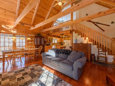 Photo for Log Cabin with Pool Table, Grills, Wood Burning Stove, Fishing, Hammock, Close to Attractions