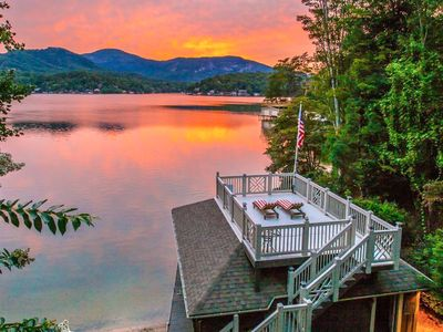 Photo for Sunset Rest: Lakefront Oasis – Private Boathouse & Game Room