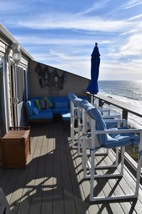 Large balcony for relaxing, sunbathing,  watching dolphins, whales or sunset.