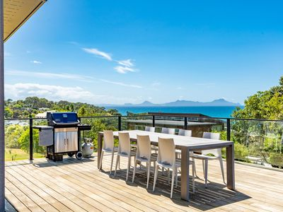 Photo for Langs Beach House - Modern, sunny holiday home with large decks and stunning views over Bream Bay