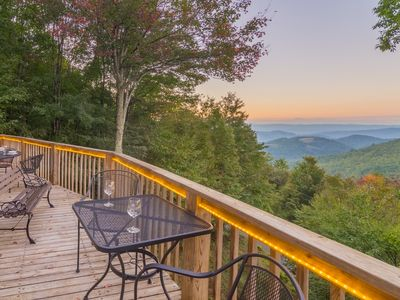 Photo for 5BR/3BA Beech Mountain Cabin with Huge Views, Gas Fireplace, Pool Table, Bumper Pool, King Suite