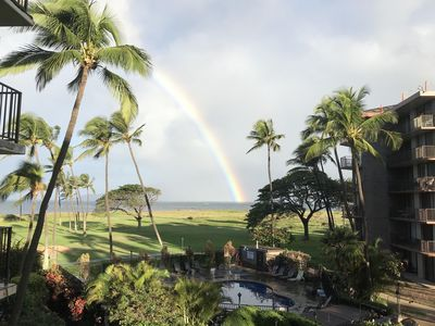 Morning rainbow over Maalaea Bay from our balcony