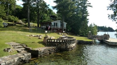 Vista of cottage and property from little island attached to property
