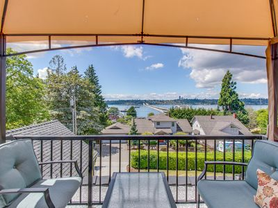 Photo for NEW LISTING! Beautiful suite w/ lake & city views, shared hot tub -near downtown