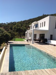 Photo for VERY LUXURY APP IN VILLA CONTEMP, SUPERB SEA VIEW AND ISLANDS, HEATED SWIMMING POOL