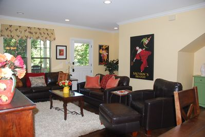 Leather furniture provides comfortable seating.